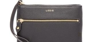 Lodis Black Small Leather Wristlet